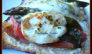 Grillés aux asperges, jambon cru et mozzarella