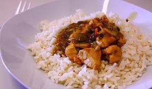 Dinde épicée avec son riz à l'ananas, basse calories