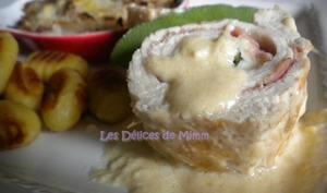 Escalopes de dinde farcies au jambon cru, à la sauge et à la mozzarella, crème de parmesan