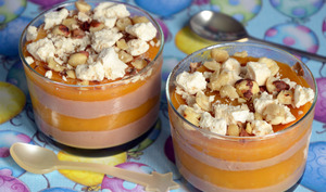 Verrines glacées chocolat coulis de mangue