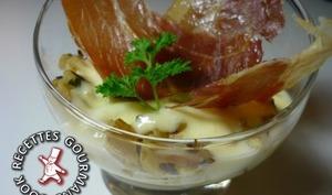 Verrine artichaut confit et crème de parmesan