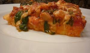 Clafoutis de courgettes aux tomates cerise, fromage de brousse, basilic