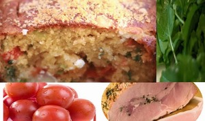 Cake salé et jambon aux herbes, schiscetta, lunch box