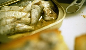 Tartinade aux sardines, beurre, citron, cornichon