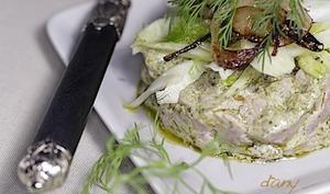 Tartare de veau au citron confit et au pesto salade de fenouil