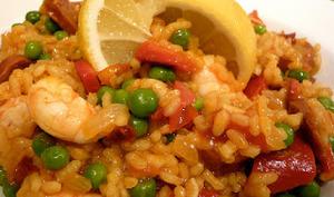 Salade riz comme une paella, à la plancha