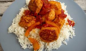 Boulettes de poulet tomate-poivron