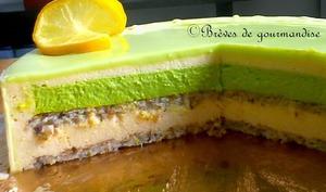 Entremets Printemps : citron et verveine du Velay.