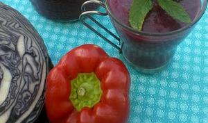 Gaspacho au chou rouge, poivron, framboises et menthe