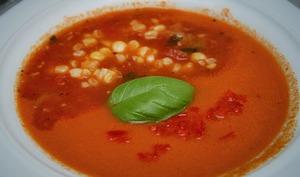 gaspacho à la tomate et au maïs - vegan -