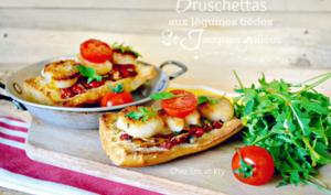 Bruschetta ou Crostini aux condiments et St-Jacques à la plancha