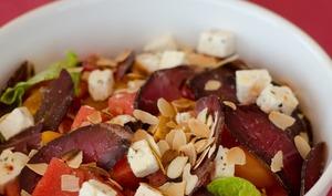 Salade de pastèque au boeuf séché et huile de Provence
