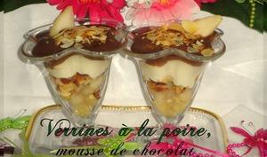 Verrine à la poire, mousse au chocolat et amandes effilées