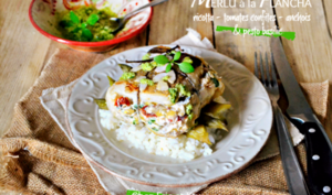 Plancha de merlu farci de ricotta, tomates confites, anchois et pesto basilic
