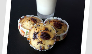 Muffins noix de pécan, sirop d'érable, pépites de chocolat