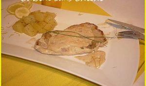 Escalopes de veau et sa sauce crémeuse citronnée.