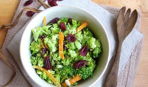 Salade crue de brocoli, carotte et cranberries, sauce tahini