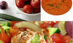 Salade composée au poulet grillé, légumes d'été et son gaspacho