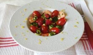 Salade courgette, crevettes, framboises