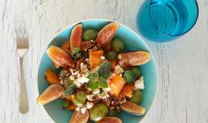 Salade de melon, figues, raisin et feta