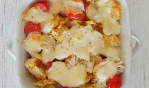 Gratin de pâtes au poulet, tomates, mozzarella et curry - spécial restes