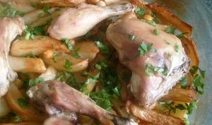 poulet et pommes de terre roties au four