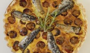 Quiche aux sardines et aux tomates cerises rôties