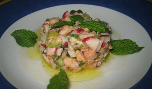 Ceviche de saumon, menthe et citron vert