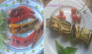 Roulés de courgettes grillées au fromage frais et poivrons cornus grillés à l'huile d'olive