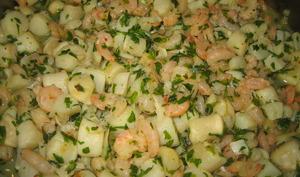 Poêlée de noix de pétoncles et crevettes persillées