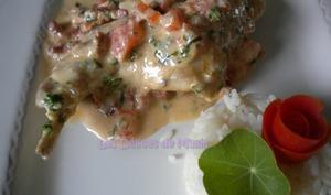 Cuisses de lapin, sauce crémeuse aux tomates fondantes et herbes du jardin