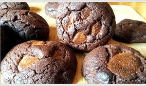 Cookies tout chocolat et caramel