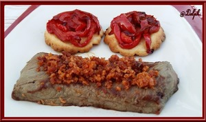 Boeuf au Crumble de Chorizo et Tatins de Poivrons