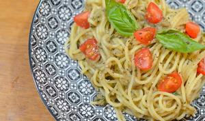 Spaghettis - crème d'aubergine aux anchois