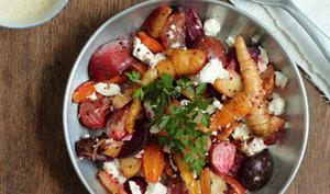 Salade de betteraves et carottes rôties