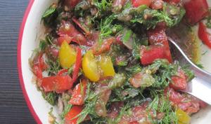 Dagga, salade de tomates, piment et aneth