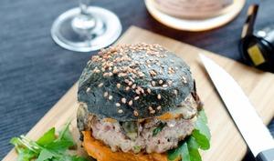 Black Burger et Champagne de Vignerons rosé