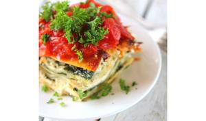 Les lasagnes végétarien au ricotta épinard et tomates cerises