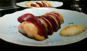 Pêches au poivre de Sichuan et vinaigre de lavande