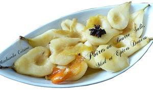 Poires au miel, au beurre demi-sel et épices douces