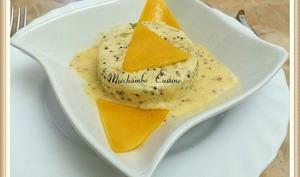 Flan de poireaux à la moutarde ancienne, crème au cheddar