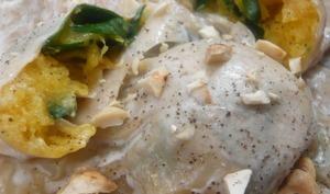 Raviolis de butternut et épinards à la noisette