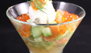 Concombre et saumon, gelée et chantilly de citron
