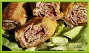 Croques-rolls perdus au jambon, roquefort et noix