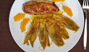 Chicons braisés et caramélisés à l'orange et au miel