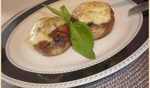 Champignons de Paris farcis, mozzarella basilic tomates séchées