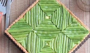 Tarte aux sarrasin, flan à la féta et haricots verts