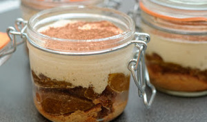 Tiramisu à la compotée de figues rôties, miel et vanille