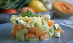 Tartare melon, concombre et feta
