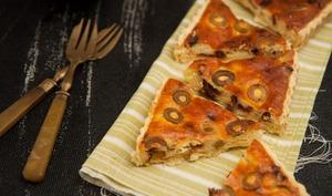 Tarte à la ricotta, tomates séchées et olives